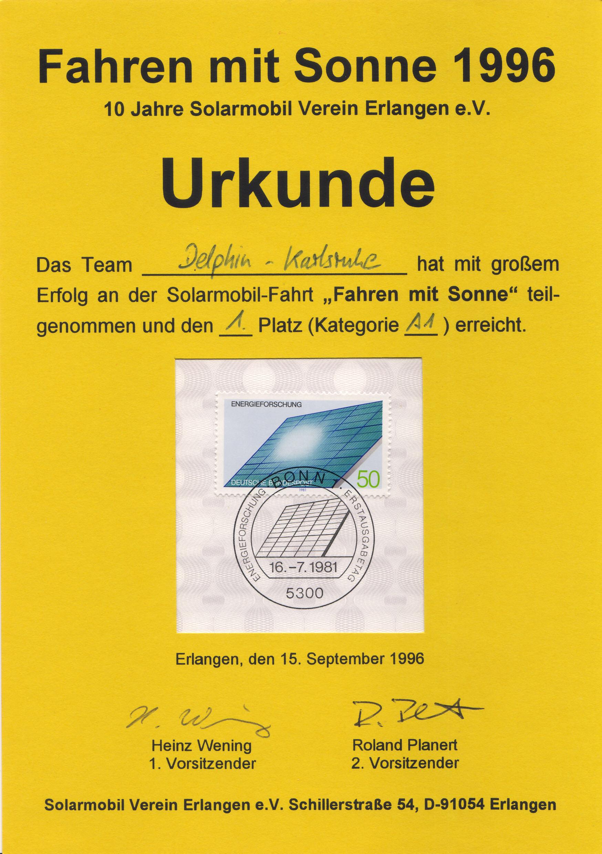 Urkunde_Fahren_mit_Sonne_1996_Delphin
